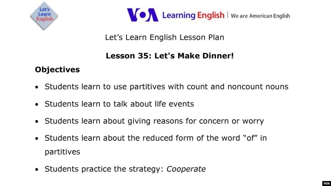 Lesson 35: Let's Make Dinner!