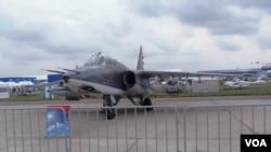 2013年8月莫斯科航展上的蘇-25型戰機。這款戰機目前正參加俄羅斯在敘利亞的空襲行動。