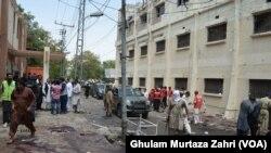 سول اسپتال کے باہر ہونے والے دھماکے کا ایک منظر