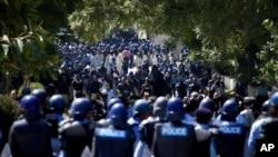 9月19日在巴基斯坦首都伊斯蘭堡﹐接近外國使館區的抗議詆毀穆斯林先知穆罕默德的示威