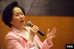 前政務司司長、香港2020召集人陳方安生。(美國之音湯惠芸攝)