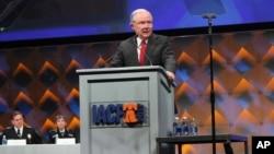 El fiscal general de EE.UU., Jeff Sessions, habló en la conferencia de la Asociación Internacional de Jefes de Policía en Filadelfia, el lunes, 22 de octubre de 2017.