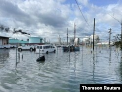 The Shell Norco manufacturing facility is flooded after Hurricane Ida pummeled Norco, Louisiana, Sep. 1, 2021.