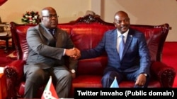 Perezida Felix Tshisekedi wa DRC na Petero Nkurunziza w'u Burundi mu ruzinduko aherukamo i Bujumbura taliki 14/6/ 2019