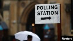 英国首都伦敦的一个投票站。星期四,英国选民就是否留在欧盟举行公投。