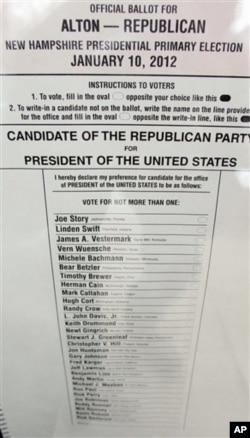 新罕布什爾州的共和黨初選選票