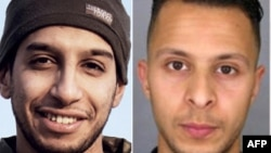 This combination of photos shows Abdelhamid Abaaoud, suspected mastermind of the November 13, 2015, Paris attacks, on the left, and suspect Salah Abdeslam, who remains at large.