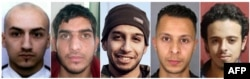 This combination of shows the suspected mastermind of the Nov. 13, 2015 Paris attacks, Belgian IS group leading militant Abdelhamid Abaaoud (C), French Bilal Hadfi (R) one of the suicide bombers who blew himself outside the Stade de France stadium, Samy Amimour (L), one of the suicide bombers who attacked a Paris concert hall, suspect at large French Salah Abdeslam (2nd R), and an unidentified man (2nd L) suspected of being involved in the attacks.
