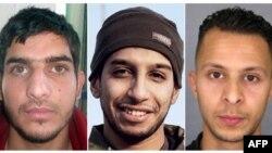 Cette combinaison de photos montre au centre Abdelhamid Abaaoud, cerveau présumé des attentats du 13 novembre 2015 à Paris Sur sa gauche Bilal Hadfi et à droite Salah Abdeslam.
