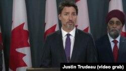 Thủ tướng Canada Justin Trudeau họp báo ngày 9/1 về việc chiếc máy bay của Ukraine bị bắn rớt tại Tehran, Iran.