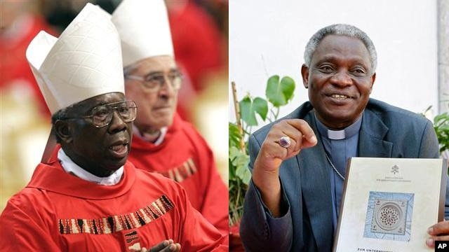 Francis Arinze, 80, of Nigeria, (left) and Peter Turkson, 64, of Ghana, (right) are candidates to replace Pope Benedict as head of the Roman Catholic Church.