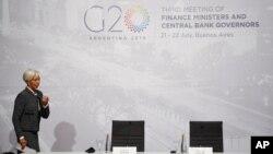Giám đốc Quỹ Tiền tệ Quốc tế, bà Christine Lagard, tại buổi họp báo nhân cuộc họp của các Bộ trưởng Tài chính và Thống đốc ngân hàng nhóm G20 hôm 21/7.
