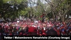 """Des milliers de partisans de l'opposition zimbabwéenne manifestent pour exiger des élections """"libres et justes"""" à Harare, le 5 juin 2018. (Twitter/Makomborero Haruzivishe)"""
