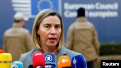 FILE - European Union foreign policy chief Federica Mogherini arrives at a EU leaders summit in Brussels, Belgium, Dec. 15, 2016.