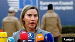 European Union foreign policy chief Federica Mogherini arrives at a EU leaders summit in Brussels, Belgium, Dec. 15, 2016. Mogherini authorized the publication of documents, Dec. 23, 2016, about the international nuclear deal with Iran reached in 2015.