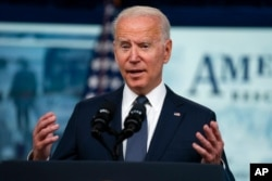 FILE - President Joe Biden speaks during an event in the South Court Auditorium on the White House complex in Washington, July 15, 2021.