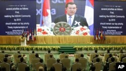 Cambodia's Prime Minister Hun Sen delivers his opening remarks for the 21st Association of Southeast Asian Nations, file photo.