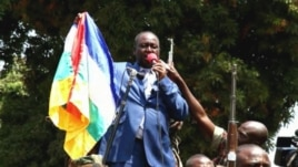 President Francois Bozize addresses crowds  in Bangui, Central African Republic Dec., 2012