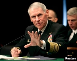 FILE - Navy Adm. William Fallon testifies before the Senate Armed Services Committee on Capitol Hill in Washington during a hearing on his nomination to be commander of the US Centeral Command Jan. 30, 2007.