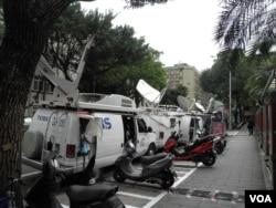 立院外台湾电视卫星地面站(美国之音申华拍摄)