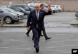 Britain's Prime Minister Boris Johnson visits Pilgrim Hospital in Boston, north east England, Aug. 5, 2019.