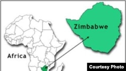 Map of Zimbabwe.