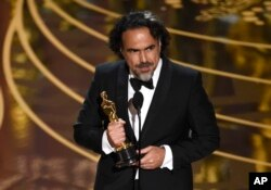 "Alejandro G. Inarritu accepts the award for best director for ""The Revenant"" at the Oscars on Feb. 28, 2016, at the Dolby Theatre in Los Angeles."