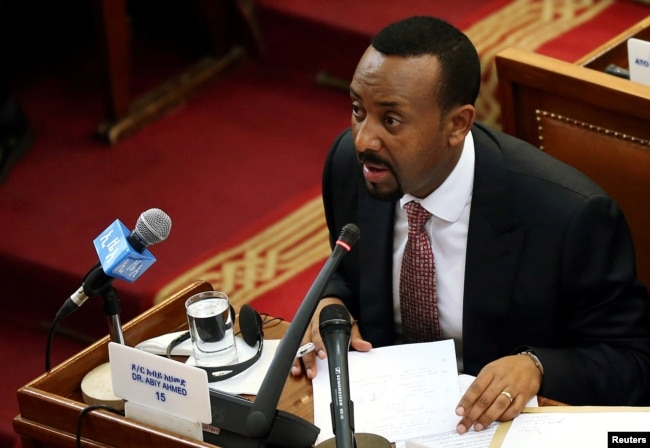 FILE - Ethiopia's prime minister, Abiy Ahmed, addresses the members of parliament inside the House of Peoples' Representatives in Addis Ababa, Ethiopia, April 19, 2018.