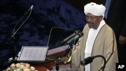 Incumbent President Omar al-Bashir, who was recently re-elected in a landslide that extended his 25-year-old rule, speaks after being sworn in at the Sudanese National Assembly in Khartoum, June 2, 2015.