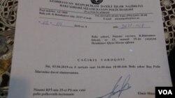 Qiyas İbarhimova çağırış vərəqi təqdim edilib
