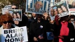 Manifestación a favor de la liberación de Alan Gross en diciembre de 2013. El excontratista estadounidense ha cumplido cinco años de prisión en Cuba.