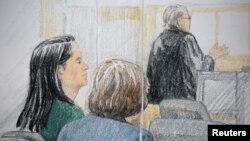 Giám đốc tài chính của công ty Huawei, Mạnh Vãn Chu (trái), trong một phiên tòa bảo lãnh tại ngoại qua phác họa của họa sĩ ở Vancouver, Canada, ngày 7 tháng 12, 2018.