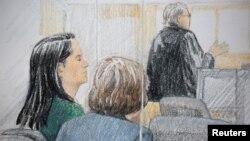 华为首席财务长孟晚舟在加拿大温哥华的不列颠哥伦比亚省最高法院出庭。(2018年12月7日)