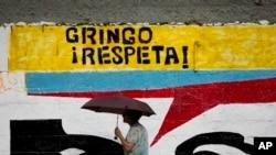 Tranh vẽ anh hùng độc lập của Venezuela Simon Bolivar ở Caracas.