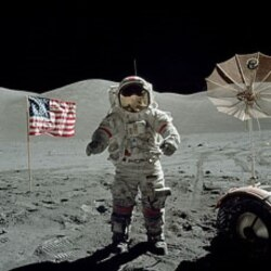 Harrison Schmitt took this photo of Eugene Cernan. The two were the last astronauts on the moon