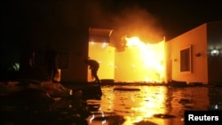US Consulate in Benghazi in flames during protest September 11, 2012
