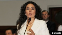Cecilia Chacón del partido Fuerza Popular de Perú hace un llamado a los parlamentarios europeos para que se sumen al pedido de investigación ante la Corte Penal Internacional.