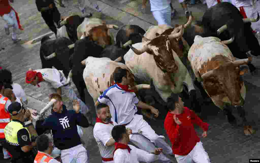 A Dolores Aguirre Ybarra fighting bull grabs the t-shirt of a runner with its horn (L, background) as they sprint up Santo Domingo hill during the second running of the bulls of the San Fermin festival in Pamplona July 8, 2013. REUTERS/Susana Vera (SPAIN
