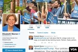 Democratic Sen. Elizabeth Warren takes on Donald Trump on Twitter, his favorite campaign messaging platform. (VOA)
