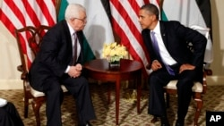 2011年9月21日阿巴斯与美国总统奥巴马会面(资料照片)