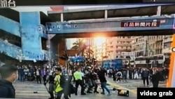 香港示威者在西湾河遭警察开枪中弹(香港有线电视画面)