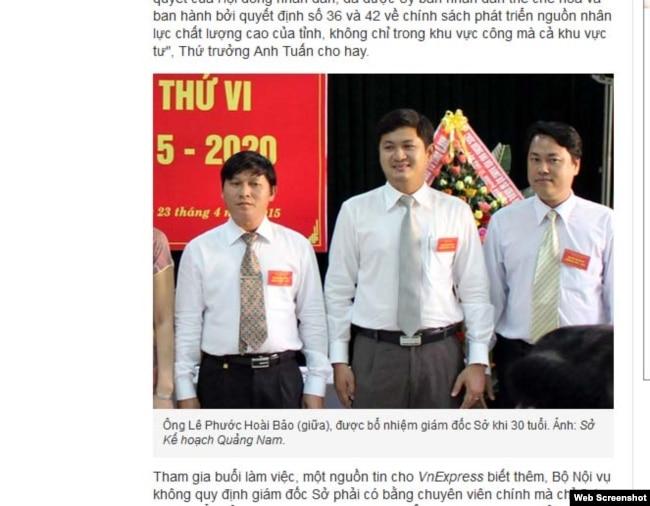 Lê Phước Hoài Bảo (giữa), được bổ nhiệm giám đốc Sở khi 30 tuổi. Ảnh: Sở Kế hoạch Quảng Nam.