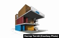 Схема будівлі із вантажних контейнерів