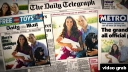 El príncipe George cargado por su madre, el príncipe William, y la mascota, Lupo, en las portadas de los periódicos británicos.