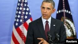 El presidente Barack Obama contesta una pregunta sobre la situación en Ucrania.