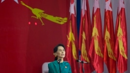 Burma's opposition leader Aung San Suu Kyi speaks during first ever congress of her National League for Democracy party at Royal Rose restaurant in Rangoon, Mar. 9, 2013.