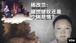 时事大家谈: 杨改兰: 盛世蝼蚁还是个体悲情?