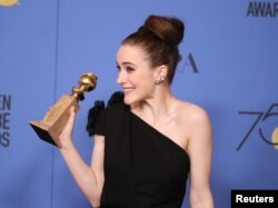 "Rachel Brosnahan poses backstage at the 75th Golden Glob Awards, Jan. 7, 2018, with her Globe for Best Actress in a Television Series, Comedy or Musical for the Amazon series ""The Marvelous Mrs. Maisel."""
