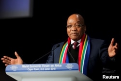 FILE - South African President Jacob Zuma speaks at the opening plenary session of the World Economic Forum (WEF) on Africa in Cape Town, June 4, 2015.