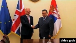 British Foreign Minister William Hague and Serbian PM Ivica Dacic